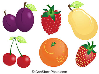 fruit-icons - Vector illustration of fruits and berries