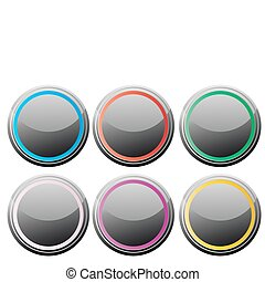 buttons-for-web-design - Vector illustration of black glance...