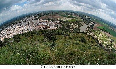 Espanhol, cidade, Almodovar, del, Rio, fisheye, vista