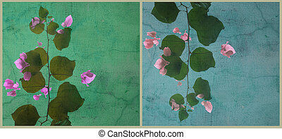 Blobby bougainvillea art split background - Blobby...