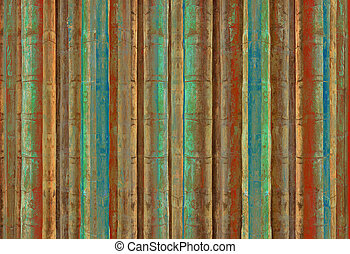 Blue green and red bamboo stripes - Grunge blue green and...