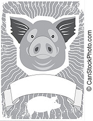 PigVector symbol of pig background for text