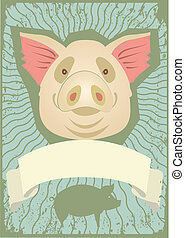 Pig.Vector symbol of pig background for text