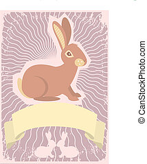 Rabbit background.Vector graphic image with scroll for text