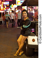 prostitute in street - asian prostitute in Pattaya walking...