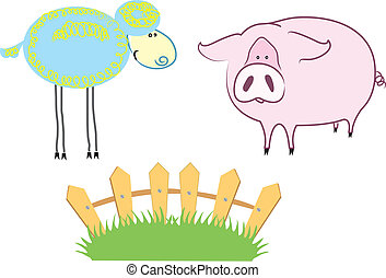 Farm Animals - Vector cartoons domestic animals on summer...