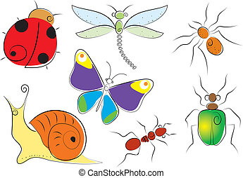 Insects - Vector cartoons symbols of insects on white
