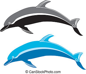 Vector dolphin and sea Symbol - Vector dolphin and sea...