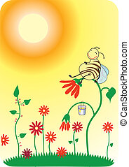 Bee - Vector cartoons smiling bee sit on flower in sun day