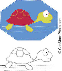 Vector cartoons of turtle Color applique for sew