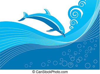 Vector dolphin and sea. Symbol - Vector dolphin and sea....