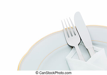 Knives, forks and plates - A knife with a fork and plate...