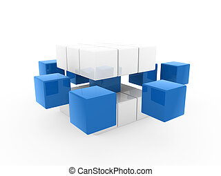 3d cube blue white square business concept puzzle