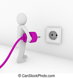 3d man plug socket purple