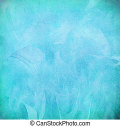 Blue feather abstract on paper textured background