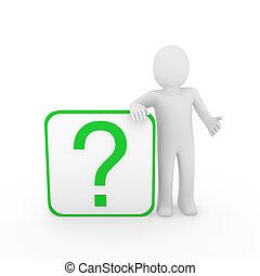 3d man question mark green