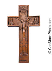 cross a crucifix is fretted from a tree - cross, religion,...