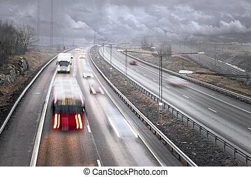 Highway traffic in fog