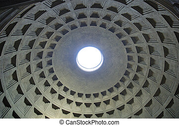 Pantheon - Inside of Pantheon in Roma Italy Europe