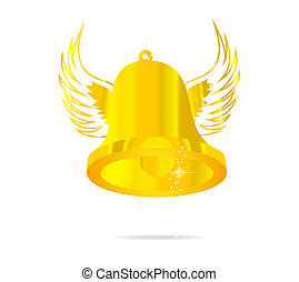 fly gold bell symbol isolated
