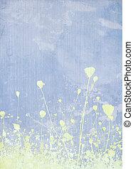pré, fleur, pâle, bleu, fond
