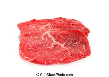 Beef minute steaks - three raw beef minute steaks on a white...