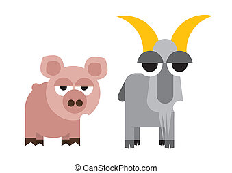 Illustration merry goat, pig - animal illustration