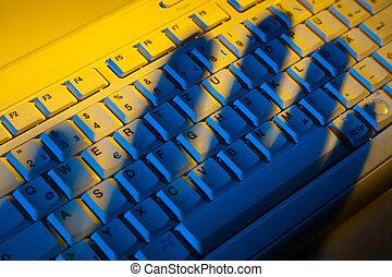 teclado, sombra, datos, robo