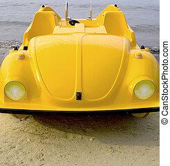 jaune, voiture, pedalo