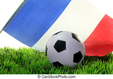 Soccer World Cup 2010 - a ball and a national flag on a...