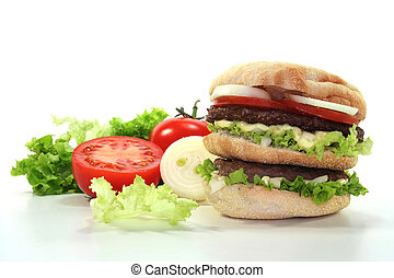 Double Burger with fresh vegetables