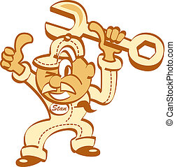 Mechanic Clip Art - Automotive mechanic or cartoon mascot in...