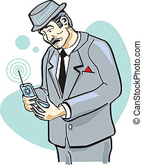 Man On Cell Phone Clip Art