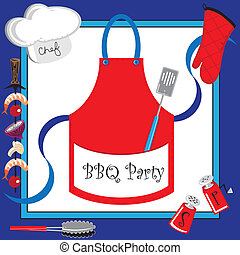 Barbecue party invitation with large apron