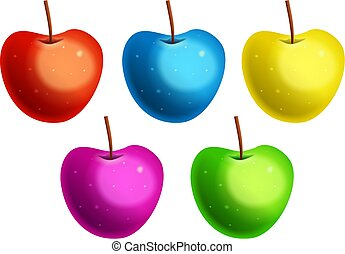 Colorful Apples - A group of five very tasty looking apples...