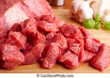 Beef on cutting board