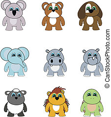 animal cartoon set pack2 - animal cartoon set pack in vector...