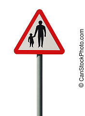 Pedestrians in the Road Warning Sign - Pedestrians in the...