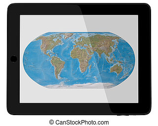 Tablet Computer with World Map - Wordl Map On Tablet PC...
