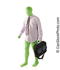 Busness Morph - A green morph in dress shirt and tie...