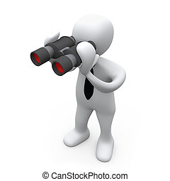 Looking Through Binoculars - 3D Business Person Looking...