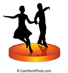 Pair dances a waltz - The man and woman dance a waltz