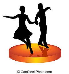 Pair dances a waltz - The man and woman dance a waltz