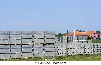 concrete blocks factory on the outskirts of town in romania