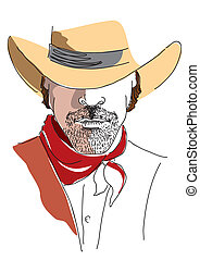 Vector portrait of cowboy on white. Strong man in cowboy hat