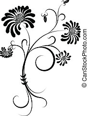 Flower black silhouette on white. - Vector black silhouette...