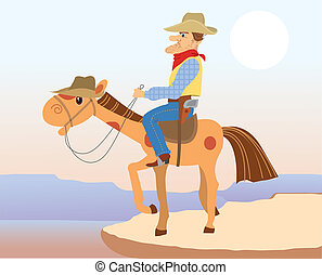Cowboy man sit on hes horse.Vector cartoons