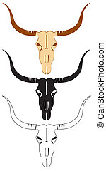 Vector cattle skulls on white for design