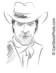 Vector portrait of cowboy on white.Strong man in cowboy hat