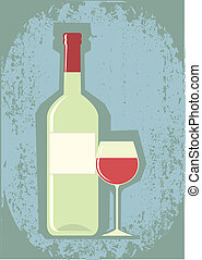 Wine symbol - Bottle of wine and grapes.Vector image